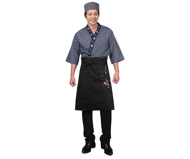 2019 Unisex Japanese Style Sushi Chef Uniform Japan Food Service Clothing New Chef Work Jacket Japanese Kimono  Cook Suit 80703