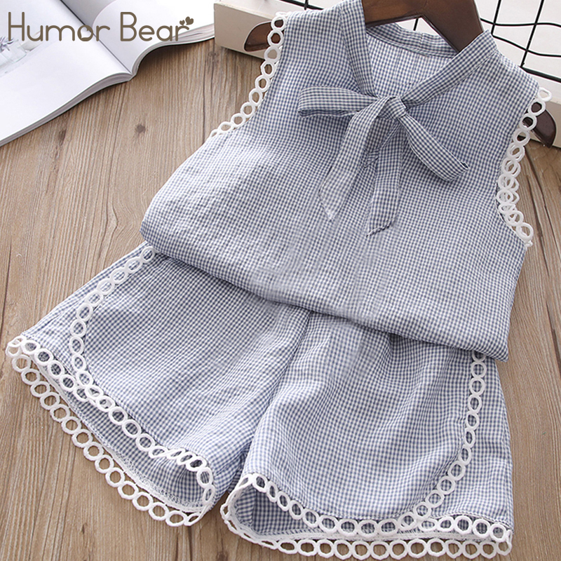 все цены на Humor Bear Girls Summer Set 2018 Kids Clothes Lace design Girls Clothing Sets Two-Piece Kids Suit Children's clothes