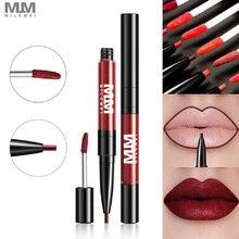 Milemei Matt Velvet Lip Gloss 2 In 1 Matte Liquid Lipstick + Liner Lips Cosmetics Moisturizer Lipgloss Mate Lipliner Pencil