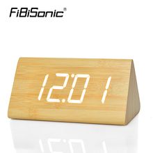 FiBiSonic LED Wooden Table &Desk Alarm Clock,Temperature Voice Activated Digital electrinic Big number triangle wood Clocks