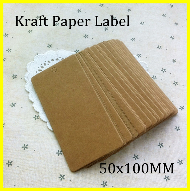 50x100MM stock Cardboard Blank price Hang tag DIY kraft paper tag ...