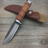 58RHC High carbon steel Straight Knife Forged Damascus steel Hunting Fixed Tactical Knives with scabbard