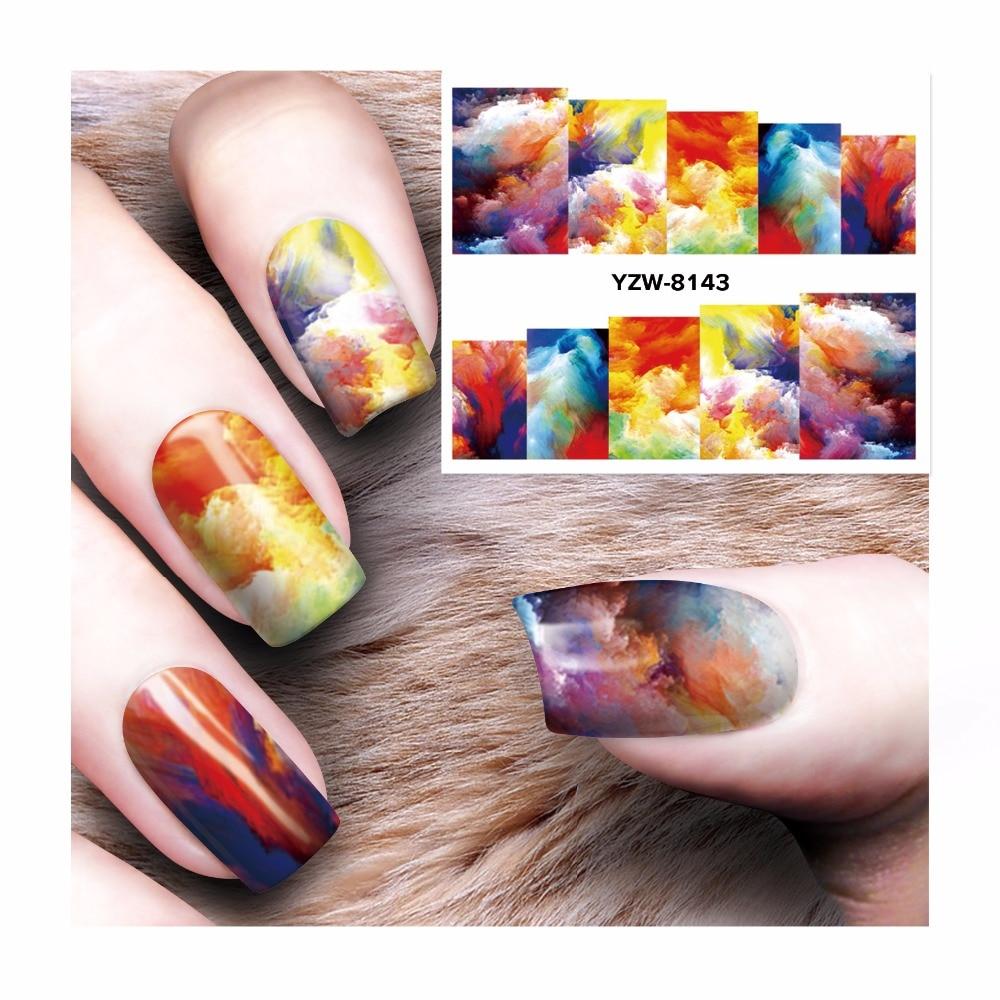 Zko 1 Sheet Watermark Stickers Nail Art Water Transfer Tips