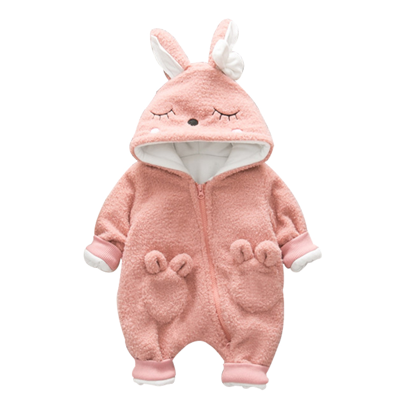Brand Baby Rompers Newborn Girl Zipper Jumpsuit Winter Baby Coat Thicken Infant Clothes Cute Rabbit Snowsuit One piece Overalls newborn baby girl clothes air cotton winter thicken coveralls rompers princess lace infant girls clothing set jumpsuit hats