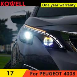 Kowell Автомобиль Стайлинг для Peugeot 4008 5008 Фары для автомобиля 2016 Peugeot светодиодные фары DRL Объектив двойной луч H7 Ксеноновые bi xenon лен