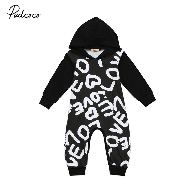 High Quality Newborn Infant Baby Boys Girls Clothes Long Sleeve Hooded Romper Jumpsuit Outfits Baby Clothing 0 to 18M 3pcs set newborn infant baby boy girl clothes 2017 summer short sleeve leopard floral romper bodysuit headband shoes outfits
