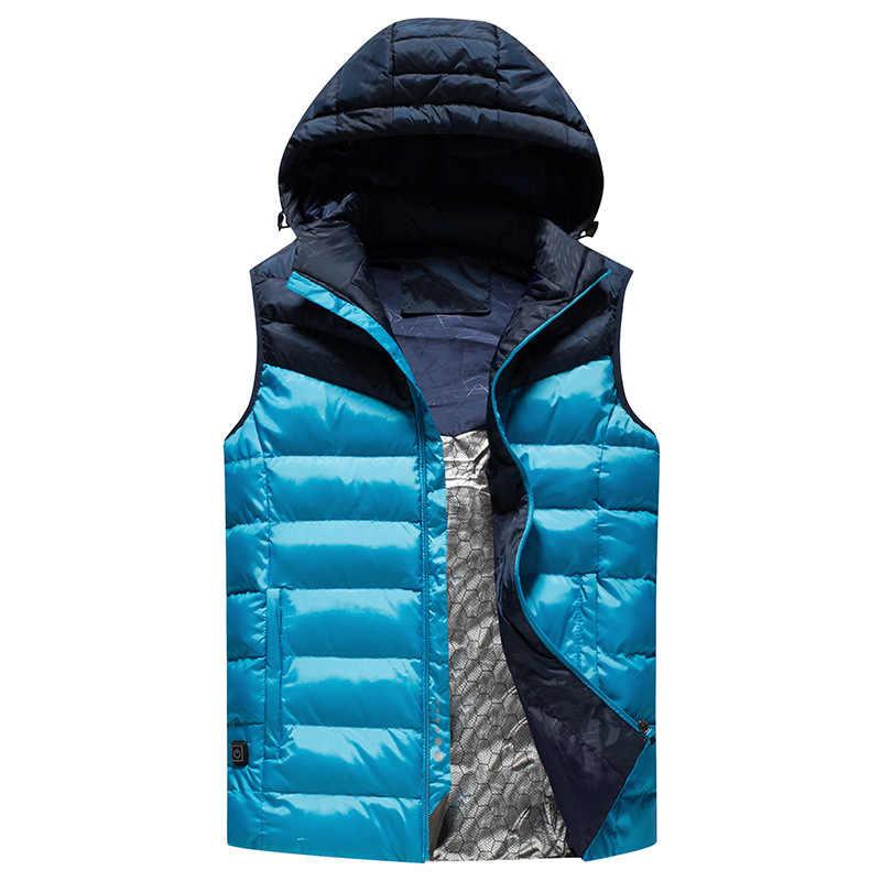 2018 Новый Мужской USB умный жилет с электроподогревом тепловая одежда перо Открытый горячая Распродажа теплый жилет зимняя куртка