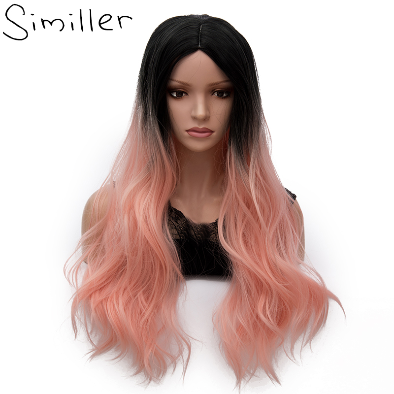 Long Curly Cosplay Wigs with Bangs Heat Resistant Wave Ombre Synthetic Handmade Full Wig For Women Daily Use and Anime Costume Party 23 Ombre Black-Pink Mix