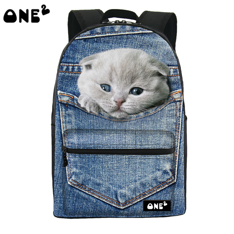 ONE2 Design jean blue pocket cat animal school bag laptop backpack college teenager boys girls university students women man
