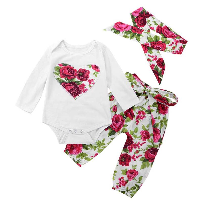 3pcs/set Newborn Baby Girls Clothes Set Long Sleeves Floral Embroidery Romper+Pants+Headband Infant Outfits Set Toddler Clothing