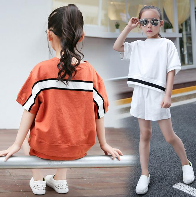 Summer Girls Casual Clothes Set Children Short Sleeve Patchwork Cotton T-shirt And Short Kids Sport Suits 2017 Ropa Nino 2017 new style fashion mom and girls short sleeve letter t shirt dot black skirt set summer kids casual clothes parenting 17f222