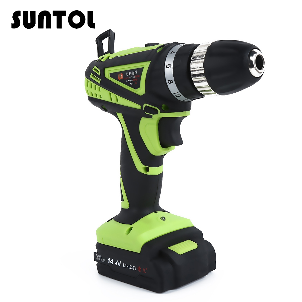 SUNTOL 14.4V Electric Screwdriver Drill Lithium Battery Rechargeable Household Hand Drill Multi-function Drill Power Tool rechargeable electric screwdriver electric screwdriver electric screwdriver screwdriver batch household electric mini hand drill