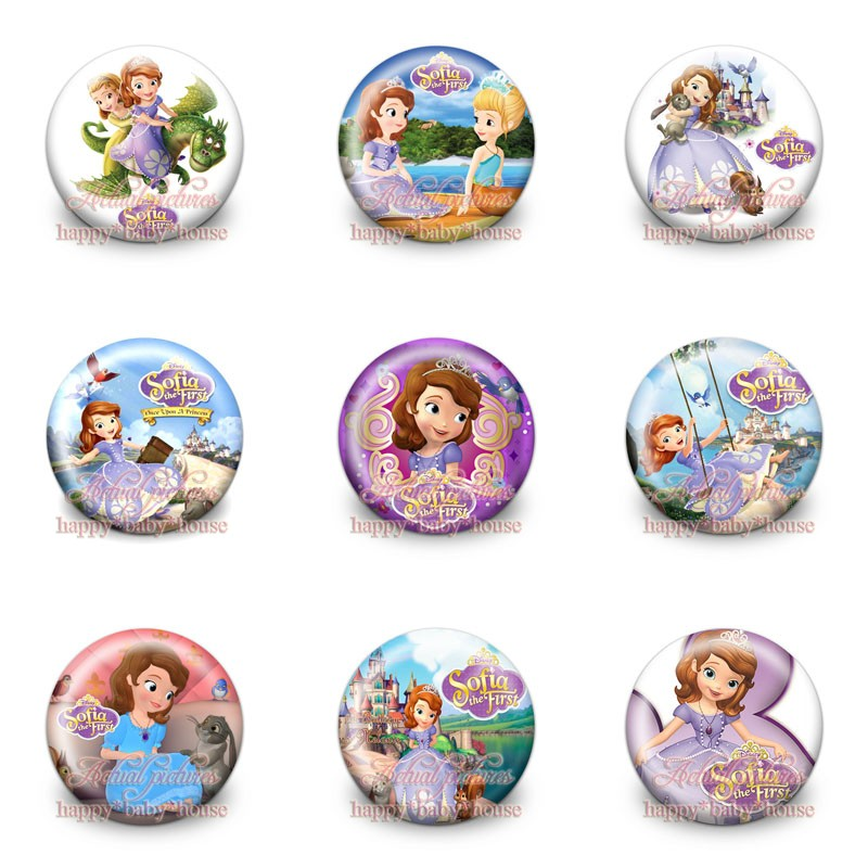 90pcs Sofia The First Princess Buttons Pins Badges Novelty Round Badges,30mm Diameter,accessories For Clothing/bags,child Gifts New Varieties Are Introduced One After Another Bag Parts & Accessories