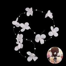 Beautiful Korean Trendy Hair Accessories For Bride Wedding Headband Pearls Flower Tiaras Women Longe Hair Band Headwear Jewelry