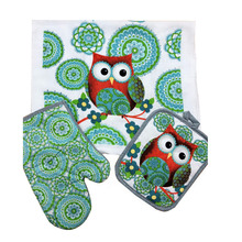 Cotton Owl design Towel Oven glove Mat for Mothers day gift Christmas decorations kitchen accessories