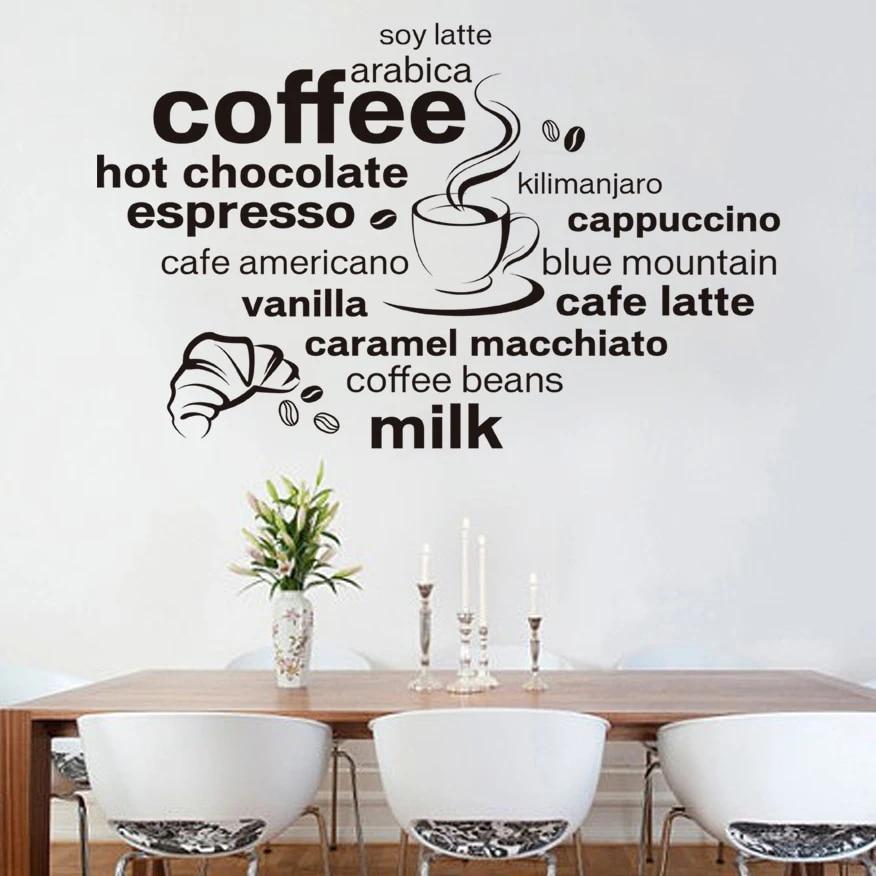 Mural café murale Sticker Cafe Cuisine Coffee Salle à Manger Deco