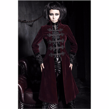 PUNK RAVE Women Fashion Gothic Black and Red Jacket Coat Streampunk Vintage Palace Long Halloween Vampire Cosplay