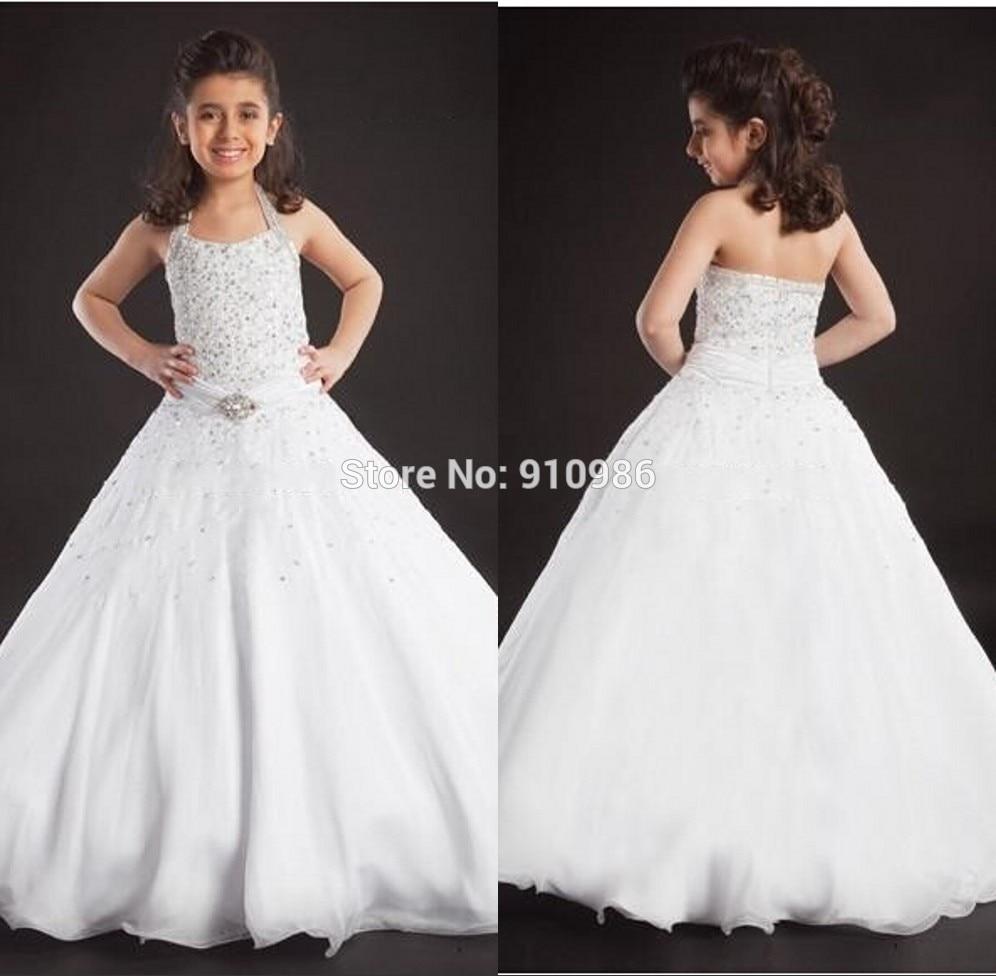 02c84c6b944f Miniature Bride Dresses Halter Sleeveless Beading Ball Gown Floor ...