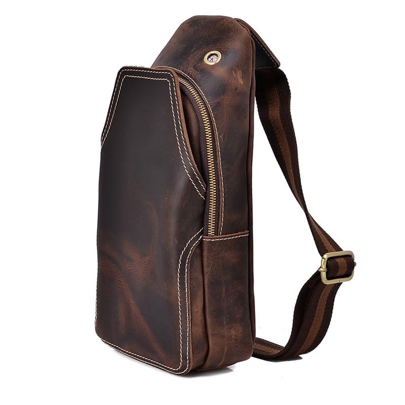 Nesitu Vintage 100% Guarantee Real Skin Dark Brown Genuine Leather Cowhide Unisex Men Chest Bags Women Men Messenger Bags #M003 nesitu vintage 100% guarantee real skin genuine leather cowhide men messenger bags m7338