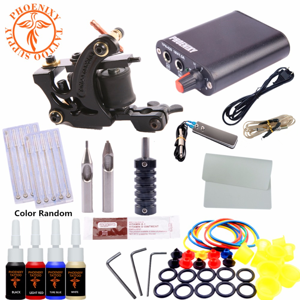 Completed Kit Tattoo Machine Set One 6 Coils Guns 4 Colors Black Pigment Sets Power Tatoo Beginner Grips Kits Permanent Makeup