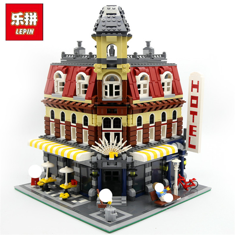 Фотография LEPIN 15002 Cafe Corner Model 2133Pcs Building Kits Blocks Kid DIY Educational Toy Children day Gift Compatible  10182