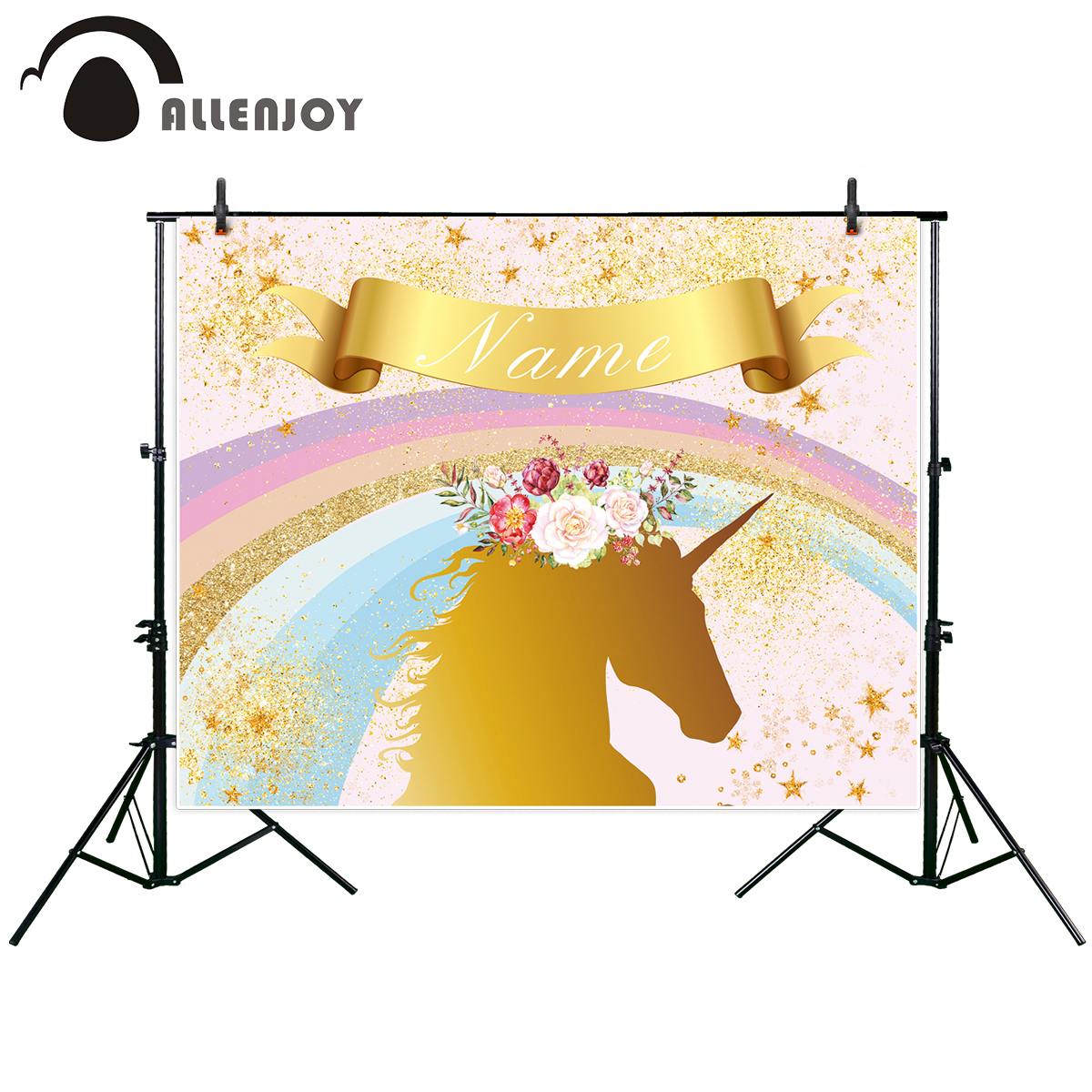 Allenjoy photographic background Golden Rainbow Unicorn Children Flowers Birthday photo studio photocall family party backdrop enlighten castle educational building blocks toys for children kids gifts horse knight king compatible with legoe