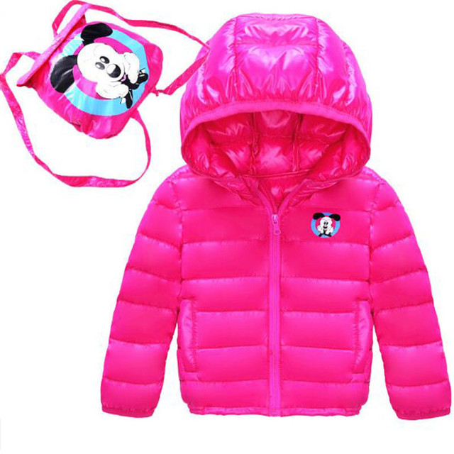 2016 New Winter Children Down Jacket Coat Slim  Boys And Girls  Fashion Hooded Cartoon School Bag Down Coat For 1-7 year