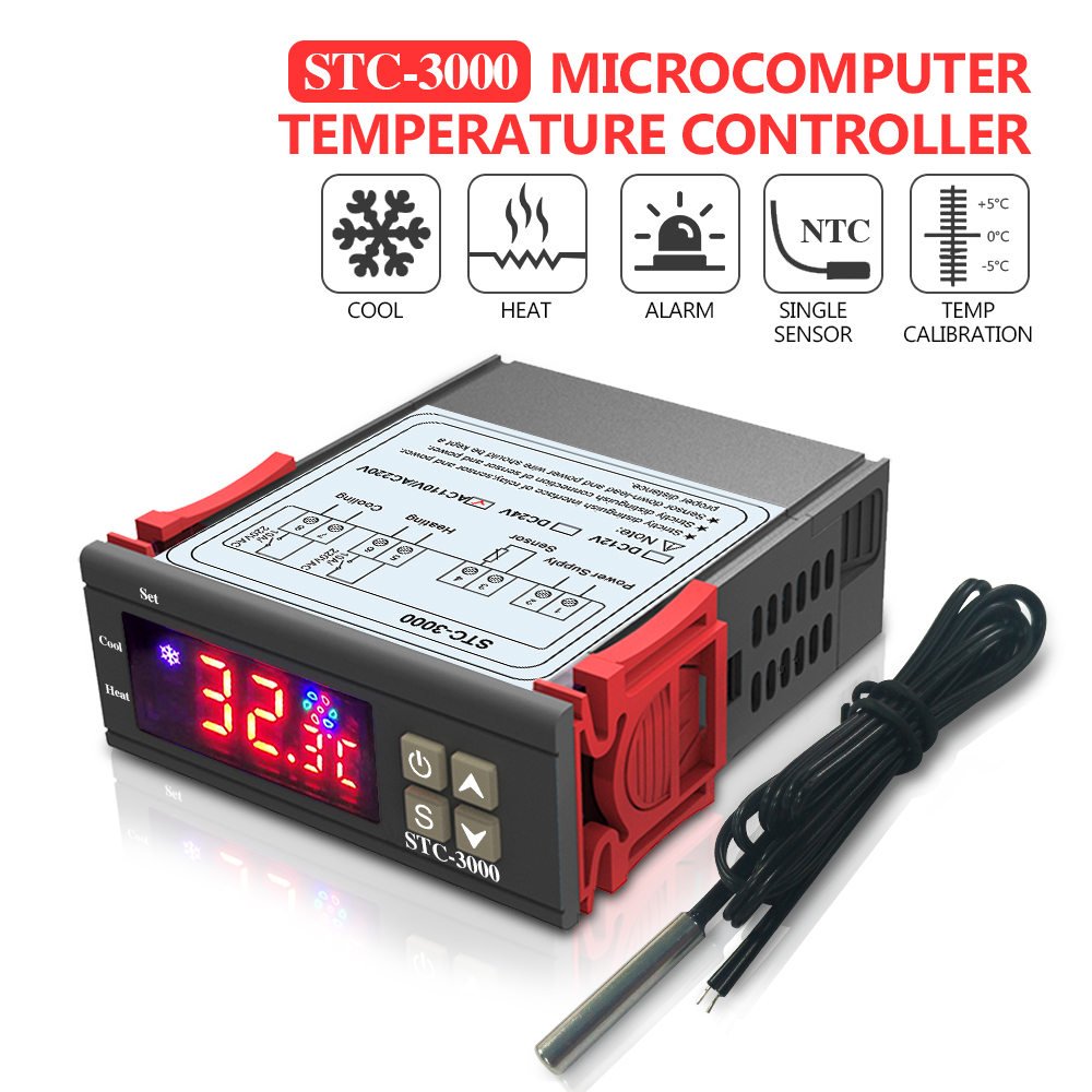 STC-3000 Microcomputer Temperature Controller Thermoregulator 12V 24V 110V-220V Digital Thermostat With Sensor Heating Cooling