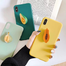 Cute 3D Summer Fruit Avocado Durian Hold stand Silicone phone case for iphone X XR XS MAX 6S 7 8 plus for samsung S8 S10 S9 Note(China)