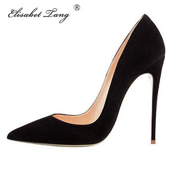 цены ElisabetTang 2019 Black Red Heel Shoes Women High Heels Faux Suede Stiletto Sexy Heels Pumps Pointed Toe Wedding Shoes For Woman