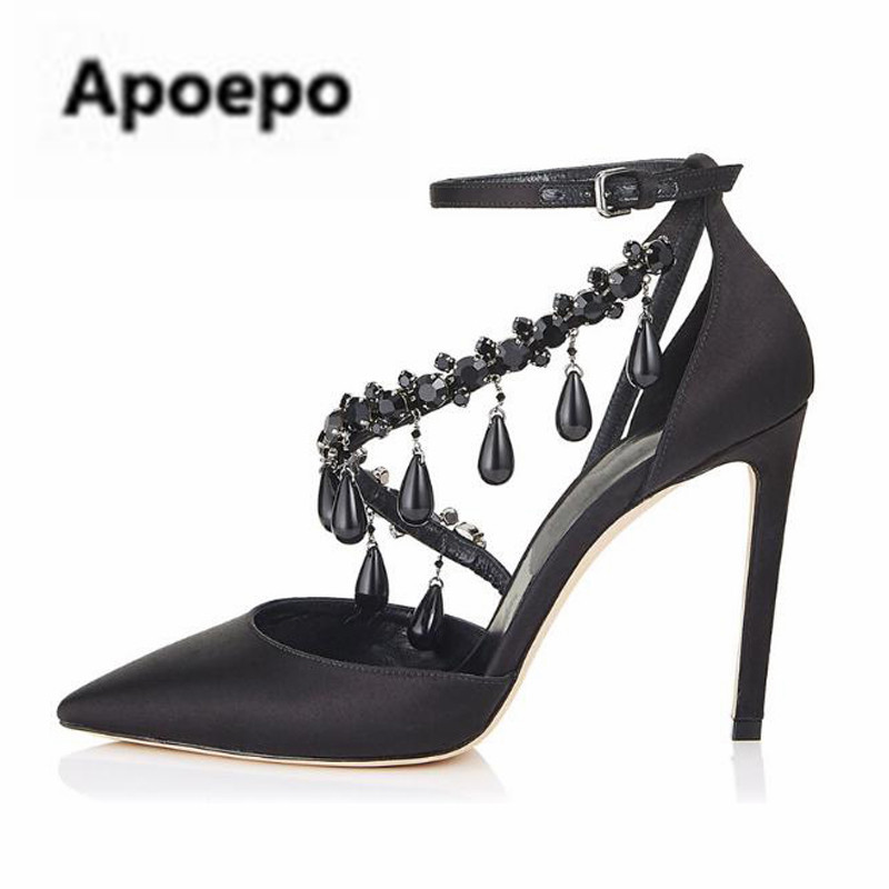 Apoepo brand Black luxury diamond sandals women sexy pointed toe string bead ladies shoes summer high heels sandals shoes 2018 карабин black diamond black diamond gridlock screwgate