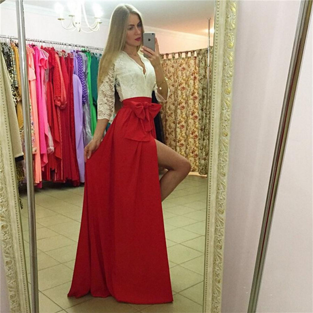 Detail Feedback Questions about Sexy Dresses Club Wear 2016 Winter Style  Lace Party Dresses Fit And Flare Patchwork Half Sleeve V Neck Split Maxi  Dress ... d3149ae35751