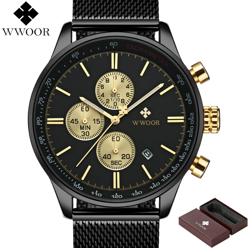 WWOOR Top Brand Luxury Men's Watch Chronograph Waterproof Stainless Steel Sport Men Quartz Business Wrist Watch Male Black Clock