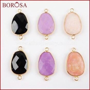 BOROSA 5 uds de moda Color oro Multi-kind Piedra Natural negro ágatas en facetas conector doble Bails para la joyería de la pulsera G1502