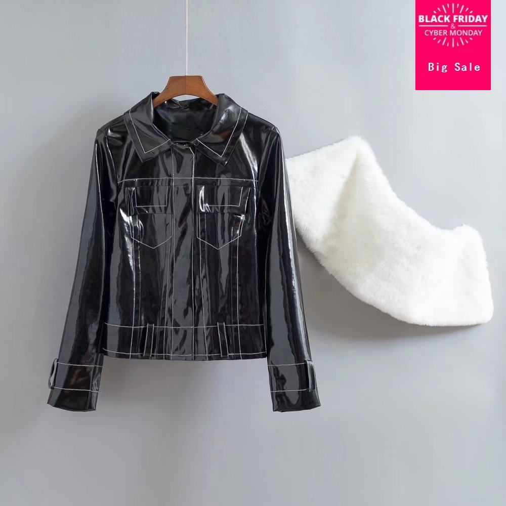 Fashion brand Patent   leather   jacket female Glossy fabric pu   leather   short Slim jackets with fake fur collar wj2719 dropship