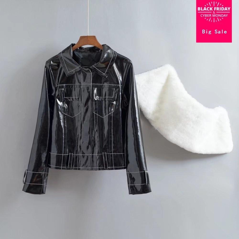 Fashion brand Patent leather jacket female Glossy fabric pu leather short Slim jackets with fake fur collar wj2719 dropship