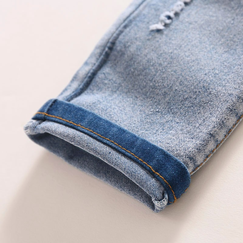 Children Jeans Boys Girls Sring Autumn Full Length Jeans Pants Cotton Fashion Casual Style with convenient Elastic Waist 5