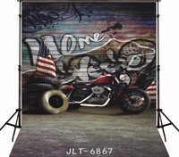 Graffiti Wall American Flag Motorcycle Backgrounds for sale Vinyl cloth High quality Computer printed children kids backdrop