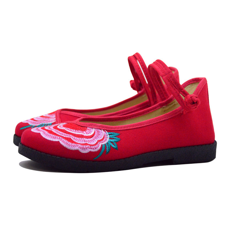 Fashion 2017 Old Peking Cloth Shoes, Chinese Style Totem Flats Mary Janes Embroidery Casual Shoes, Red+Black Women Shoes S189 (47)