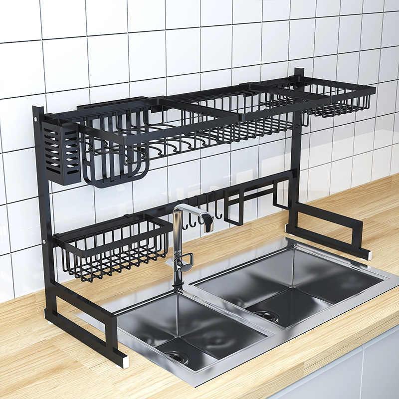 New Stainless Steel Kitchen Sink Rack Bowl Plate Dish Rack Drainer Tableware Sponge Sink Storage Shelf Kitchen Organizer
