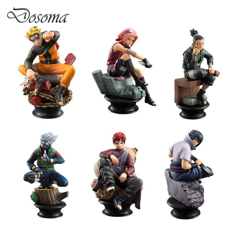 6 Pcs/set Naruto Action Figure Anime Pvc 9cm Cool Uzumaki Hinata Madara Kakashi Figure Classic Toys for Kids or Collection WS156