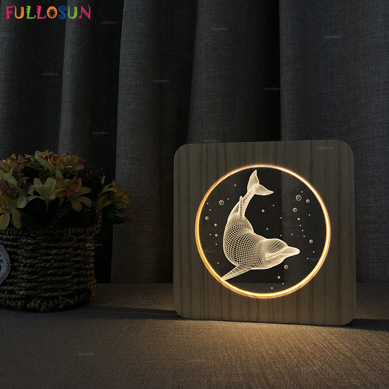 Novelty 3D Acrylic LED Desk Lamp Warm Color Night Light Dolphin Animal Table Light as Gift novelty 3d full moon lamp led night light usb rechargeable color changing desk table light home decor 8 10 12 15 18 20cm