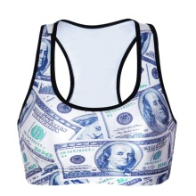 NEW 0080 Summer Sexy Girl Women $$ dollar money 3D Prints Padded Push Up Gym Vest Top Chest Running Sport Yoga Bras