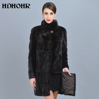 HDHOHR 2018 High Quality Natural Mink Fur Coats Brown Women Stand Collar Outwear Park Female Warm Winter Real Mink Fur Jacket