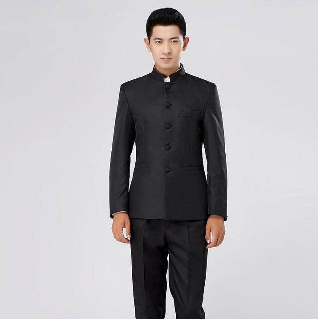 פזמון בני ליזר חליפות חתונה חתן לגברים נשף mariage חליפות עיצובים צפצף המעיל האחרונים חליפת הטוניקה הסינית slim פורמליות שמלת