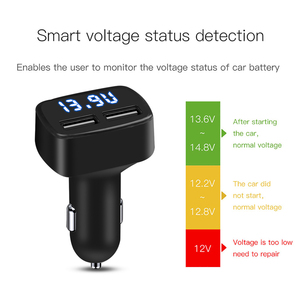 Image 3 - شاحن سيارة USB مزدوج 4 في 1 ، ميزان حرارة بشاشة رقمية ، شحن ولاعة سجائر ، شاحن سيارة ، شاشة رقمية للهاتف الخلوي