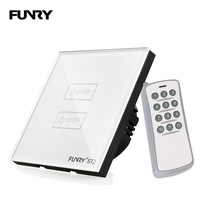Funry ST2 2 Gang EU Touch Screen Smart Switch Waterproof Tempered Glass Touch Switch 170 240V