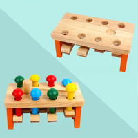 New arrival fashion wooden toy wooden high pile building balance block two in one travel game education W520