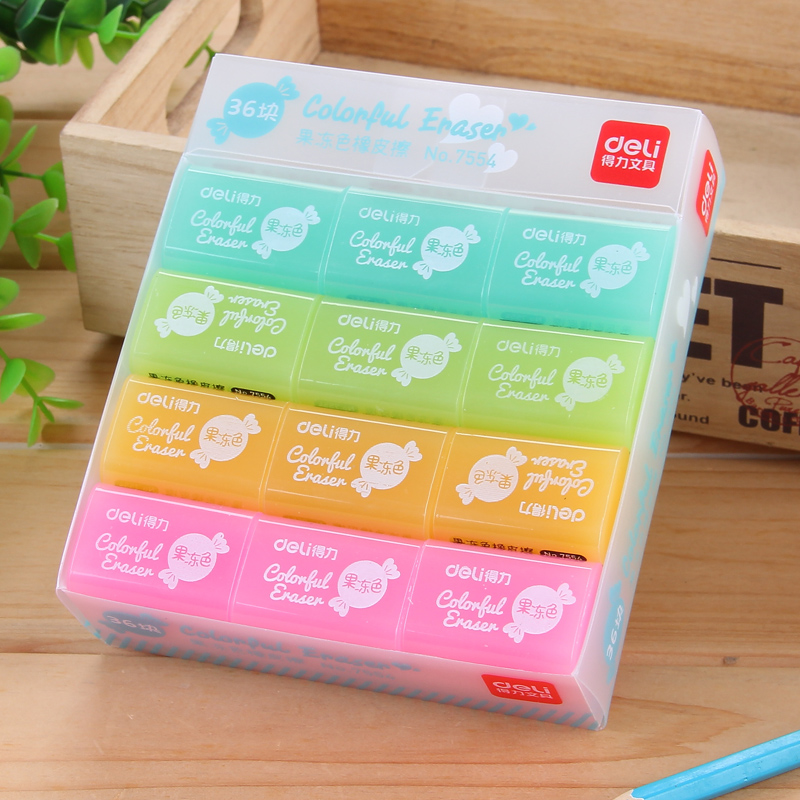 36Pcs Plastic Candy Color Erasers Jelly Pencil Eraser Pupils Students Correct Written Mistake Homework Exam Tools School 7554