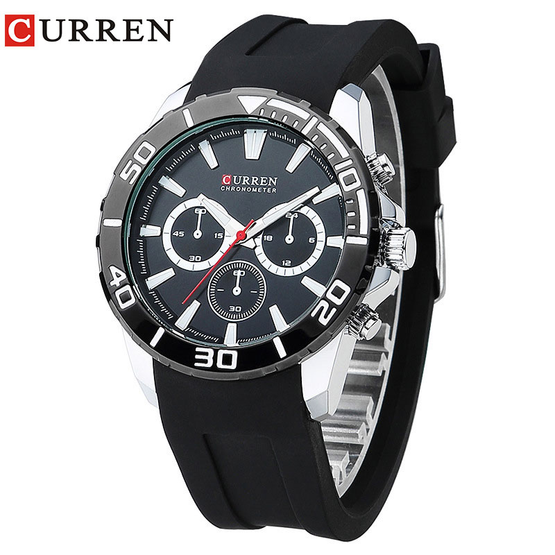 CURREN 2017 fashion watches men analog military Silicone sport watch quartz male wristwatches relogio masculino 8185